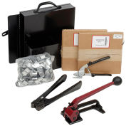 """Pac Strapping Steel Strapping Kit With Two 1/2"""" x 200' Coils, Tensioner, Sealer, Cutter & Case"""