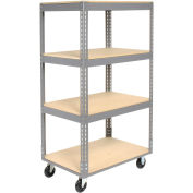 "Easy Adjust Boltless 4 Shelf Truck, Wood Shelves, Polyurethane Casters, 60""L x 24""W x 65""H"