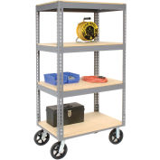 "Easy Adjust Boltless 4 Shelf Truck, 60""L x 24""W x 68""H, Wood Shelves, Rubber Casters"