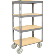 "Easy Adjust Boltless 4 Shelf Truck, Wood Shelves, Pneumatic Casters, 60""L x 24""W x 68""H"