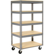 "Easy Adjust Boltless 5 Shelf Truck, Wood Shelves, Polyurethane Casters, 60""L x 24""W x 65""H"
