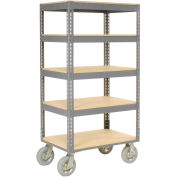 "Easy Adjust Boltless 5 Shelf Truck, Wood Shelves, Pneumatic Casters, 60""L x 24""W x 68""H"
