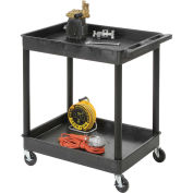 "Luxor Tray Top Shelf 2 Shelf Plastic Utility Cart, 4"" Casters, 24""L x 18""W x 38-1/2""H"