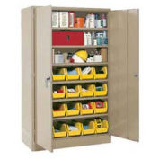 Locking Storage Cabinet With (20) Yellow Removable Bins, 48x24x78