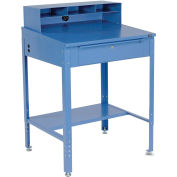 """Shop Desk 34-1/2""""W x 30""""D x 38 to 42-1/2""""H With Pigeonhole Compartments, Blue"""