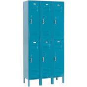 Double Tier Locker, 12x18x36, 6 Door, Ready To Assemble, Blue