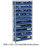 Open Bin Shelving w/11 Shelves & 42 Blue Bins, 36x12x73