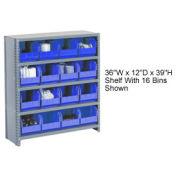 Closed Bin Shelving w/5 Shelves & 16 Blue Bins, 36x12x39