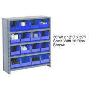 Closed Bin Shelving w/11 Shelves & 60 Blue Bins, 36x12x73