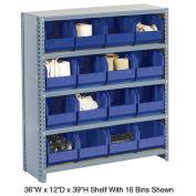 Closed Bin Shelving w/10 Shelves & 28 Blue Bins, 36x18x73