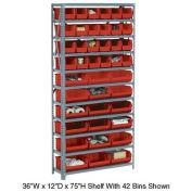 Open Bin Shelving w/11 Shelves & 30 Red Bins, 36x12x73