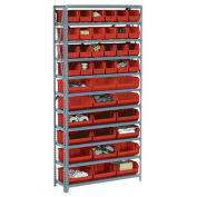 Open Bin Shelving w/11 Shelves & 42 Red Bins, 36x12x73