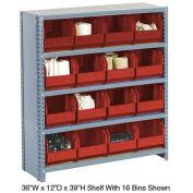 Closed Bin Shelving w/5 Shelves & 16 Red Bins, 36x12x39