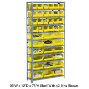 Open Bin Shelving w/11 Shelves & 42 Yellow Bins, 36x12x73