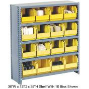 Closed Bin Shelving w/5 Shelves & 16 Yellow Bins, 36x12x39