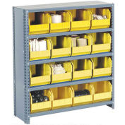 Closed Bin Shelving w/10 Shelves & 36 Yellow Bins, 36x12x73