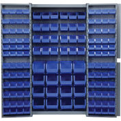 Bin Cabinet With 40 Inner & 96 Door Blue Bins, Unassembled, 38x24x72