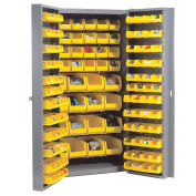 Bin Cabinet With 40 Inner & 96 Door Yellow Bins, Unassembled, 38x24x72