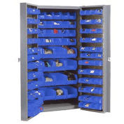 Bin Cabinet With 40 Inner & 96 Door Blue Bins, Assembled, 38x24x72