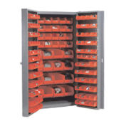 Bin Cabinet With 40 Inner & 96 Door Red Bins, Assembled, 38x24x72