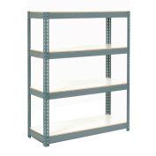 "Boltless Extra Heavy Duty Shelving 36""W x 18""D x 60""H, 4 Shelves, 1500 lbs. Cap/Shelf, Gray"