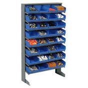 "Floor Rack, 8 Shelves w/ (32) 8""W Blue Bins, 33x12x61"