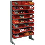 "Floor Rack, 8 Shelves w/ (32) 8""W Red Bins, 33x12x61"