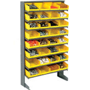 "Floor Rack, 8 Shelves w/ (32) 8""W Yellow Bins, 33x12x61"