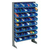 "Floor Rack, 8 Shelves w/ (64) 4""W Blue Bins, 33x12x61"