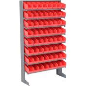 "Floor Rack, 8 Shelves w/ (64) 4""W Red Bins, 33x12x61"