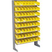 "Floor Rack, 8 Shelves w/ (64) 4""W Yellow Bins, 33x12x61"