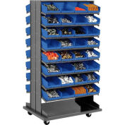 "Double-Sided Mobile Rack, 16 Shelvs with (64) 8""W Blue Bins"