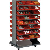 "Double-Sided Mobile Rack, 16 Shelvs with (64) 8""W Red Bins"