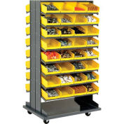 "Double-Sided Mobile Rack, 16 Shelvs with (64) 8""W Yellow Bins"