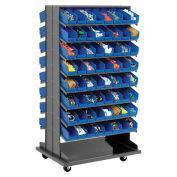 "Double-Sided Mobile Rack, 16 Shelvs with (128) 4""W Blue Bins"