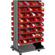 "Double-Sided Mobile Rack, 16 Shelvs with (128) 4""W Red Bins"