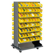 "Double-Sided Mobile Rack, 16 Shelvs with (128) 4""W Yellow Bins"