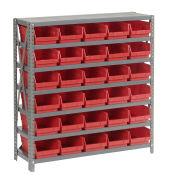 "7 Shelf Steel Shelving with (30) 4""H Plastic Shelf Bins, Red, 36x18x39"