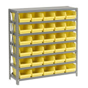 "7 Shelf Steel Shelving with (30) 4""H Plastic Shelf Bins, Yellow, 36x18x39"
