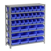 "7 Shelf Steel Shelving with (36) 4""H Plastic Shelf Bins, Blue, 36x18x39"