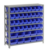 "7 Shelf Steel Shelving with (42) 4""H Plastic Shelf Bins, Blue, 36x18x39"