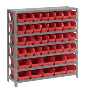 "7 Shelf Steel Shelving with (42) 4""H Plastic Shelf Bins, Red, 36x18x39"