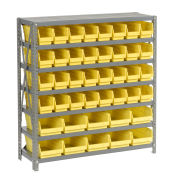 "7 Shelf Steel Shelving with (42) 4""H Plastic Shelf Bins, Yellow, 36x18x39"