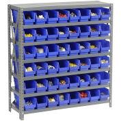 "7 Shelf Steel Shelving with (48) 4""H Plastic Shelf Bins, Blue, 36x18x39"