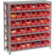 "7 Shelf Steel Shelving with (48) 4""H Plastic Shelf Bins, Red, 36x18x39"