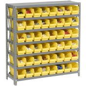 "7 Shelf Steel Shelving with (48) 4""H Plastic Shelf Bins, Yellow, 36x18x39"