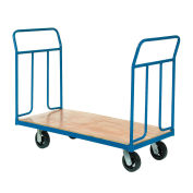 "Wood Deck Platform Truck w/Removable Handles, 2400 Lb. Capacity, 6"" Mold-On Rubber Wheels"