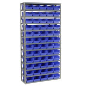 "13 Shelf Steel Shelving with (60) 4""H Plastic Shelf Bins, Blue, 36x12x72"