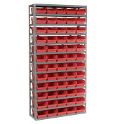 "13 Shelf Steel Shelving with (60) 4""H Plastic Shelf Bins, Red, 36x12x72"