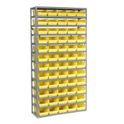 "13 Shelf Steel Shelving with (60) 4""H Plastic Shelf Bins, Yellow, 36x12x72"